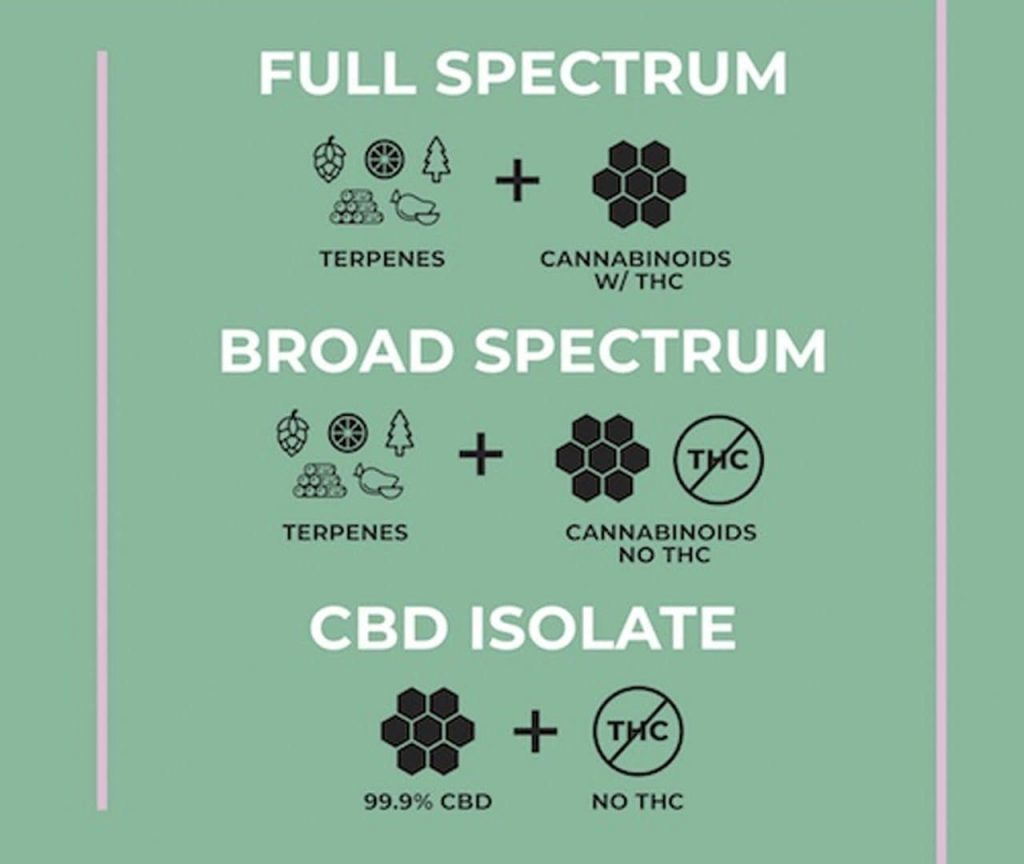 CBD products contain either full or broad spectrum extracts or CBD isolate